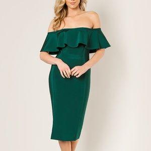 Wow Couture Off Shoulder Slit Green Bandage Dress